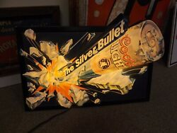 Vintage Coors Silver Bullet Beer Lighted 3-d Embossed Sign 25 X 15 1/2 Gas Oil