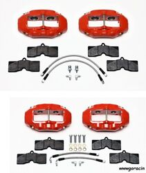 Wilwood Brake Caliper,pad,and Line Kit,front And Rear,1965-1982 Corvette C2,c3,red
