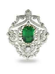 Solid 925 Sterling Silver Green Emerald Cut White Round Vintage Style Brooch Pin
