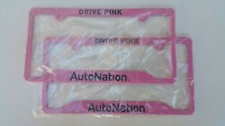 TWO (2) PINK DRIVE PINK AUTO NATION LICENSE PLATE METAL FRAME BRAND NEW SEALED!