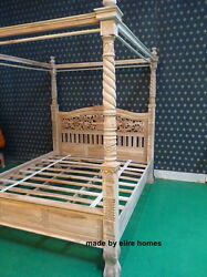 Teak Uk King 5and039 Natural Rustic Four Poster Queen Anne Chippendale Canopy Bed