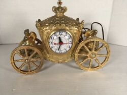 1940's 1950's United Clock Corp Clock Angels On Horse Drawn Carriage Beautiful
