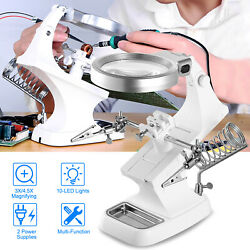 3x Led Light Helping Hands Magnifier Soldering Station Magnifying Glass Stand
