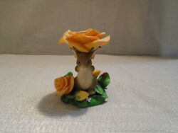 Charming Tails Floral Candleholder With Mackenzie Mouse Figurine 93/202