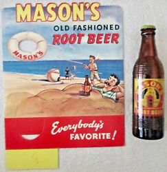 Mason's Old Fashioned Root Beer Diecut Bottle Holder Counter Sign 1950's