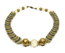 Unusual Vintage Estate Lucite Beaded Gold Painted Beads Necklace