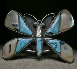 Massive Native American Sterling Turquoise Cuff Bracelet By Small Bear Ponca
