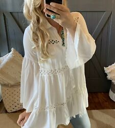 New Bohemian White Cotton Button Up Embroidered Tunic Top Festival Blouse M XL