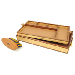 HERMES wooden wood leather tray purse stationery brush set Brown-based pro (21