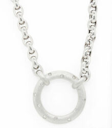 Diamond Circle Necklace 14k White Gold Matte Made In Italy Solid Chain 16