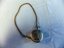 Vintage Disney Mickey Mouse Gold Toned Pocket Watch Mu1048 13 Gold Chain