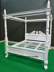 Bespoke White Super King Size Mahogany Queen Anne Style Four Poster Bed