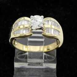 Estate 18k Gold 1ct Round And Baguette Natural Diamond Solitaire Engagement Ring