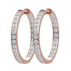 1.60 Ctw Round Natural Diamond Inside And Outside Hoop Earrings 14k Rose Gold