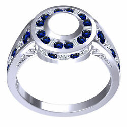 1.25 Ct Semi Mount Halo Engagment Ring Natural Sapphire And Diamond Si1 F 14k Gold