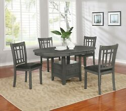 Modern Casual 5 Piece Dining Set with Extension Leaf & Storage Base Medium Gray