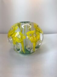 Vintage St. Clair Art Glass Flower Paperweight Lamp Amethyst Yellow
