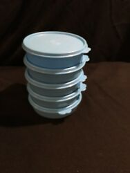 Tupperware Set Of 5 Blue 1 1/2 Cup 410ml Lidded Snack Soup Or Cereal Bowls