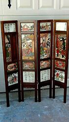 Antique 18c Chinese 4 Panel Screen W/4 Marble Finely Painted Both Side Panels 1