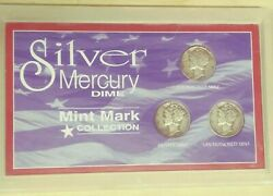 Silver Mercury Dime Mint Mark Collection 3 Coin Set Us-41