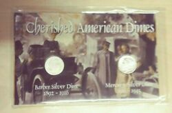 Cherished American Silver Dimes 2 Coin Set Barber Mercury Us-42 Sealed