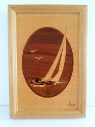 Marquetry Sail Boat Hudson River Inlay By Jeff Nelson Beautiful Artistry 7x10