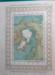 1901 Large Victorian Map-north Polar Regions And Universal Time Chart