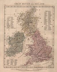 1828 Antique Arrowsmith Hand Coloured Map Great Britain And Ireland