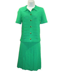 1960s Kimberly Emerald Green Vintage Knit Suit Sz 10 Pleated Skirt