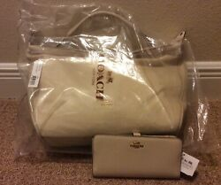Nwt Coach Madison Xl Smythe Satchel In Leather F32330 And 51936 Wallet Milk Rare