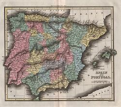 1816 Antique Map Walker Hand Coloured Spain And Portugal