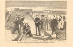 1877 Antique Print - Imperial At Chatham Officers Hand Grenade Practice