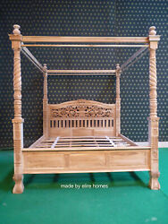 Carved Teak Wood 6' Four Poster Floral Design Chippendale Queen Anne Bed