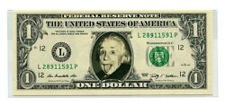 Albert Einstein Genuine Us1 Bank Note Poking Tongue Orig Pic Sold For 74,000