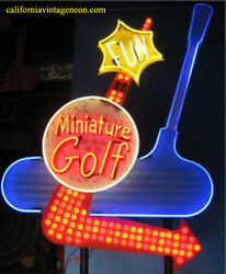 MINIATURE GOLF Neon Bulb Lit Sign   Single Sided * Collectible