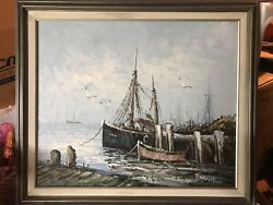Beautiful Antique Oil Canvas Ships In Harbor Signed Florence