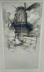 Andrew Fairbairn Affleck Signed Pen And Ink Windmill And Water Carrier