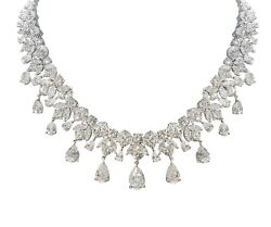 925 Sterling Silver Necklace White Marquise Pear Drop Cluster Party