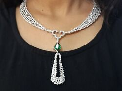 925 Sterling Silver Necklace Green Pear White Round Anniversary Collar Royal