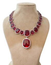 925 Sterling Silver Necklace 270tcw Red Cushion White Halo Statement