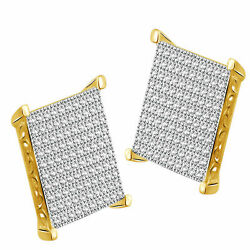 Round Simulated Diamond Men's Square Stud Earrings 925 Sterling Silver