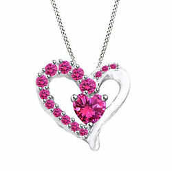 Sapphire Heart Pendant 14k White Gold Over Sterling Silver .925 Sterling Silver