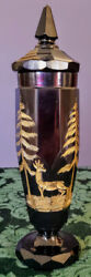 Moser 1870's Dark Ruby Engraved Faceted Lidded Gold Gilded Amazing Art Glass