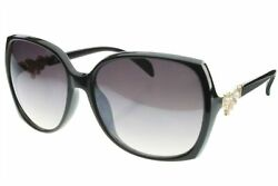 Sunglasses Womens Oversized Butterfly Gold Bow with Pearls and Rhinestone Black $9.99