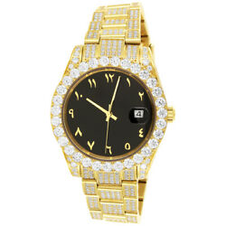 Menand039s Arabic Black Dial Solitaire Bezel Analog Watch
