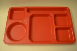Lot Of 12 Red Cafeteria Trays 6 Compartment Plas-tique Ptp-11 Camping School
