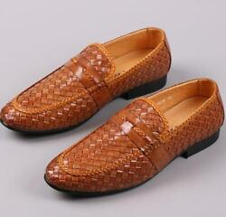 New Mens Outdoor Driving Slip On Leather Pumps Loafers Weave Leisure Party Shoes