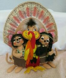 Annalee Thanksgiving Dolls -- Two Indians With A Turkey