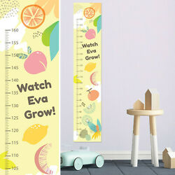 Personalised FABRIC Height Measure Growth Fruits Chart Design Add Name DOB Photo