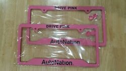 A PAIR - TWO - 2 PINK DRIVE PINK AUTO NATION LICENSE PLATE METAL FRAME BRAND NEW